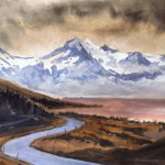 Watercolor Mountains-Broke Mountain